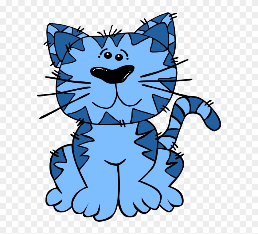 Blue Cat Clipart - Sitting Cat Shower Curtain #12730