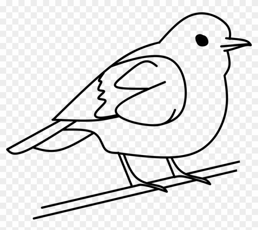 Bird Tree Out Line Clipart Vector Sticker Symbol - Bird Black And White #12723