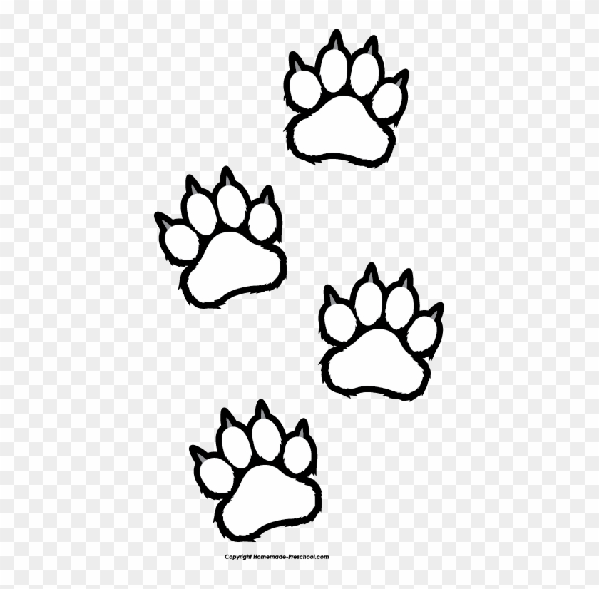 Dog Paw Print Clip Art Free Dog Clipart - Tiger Paw Clip Art Black And White #12726