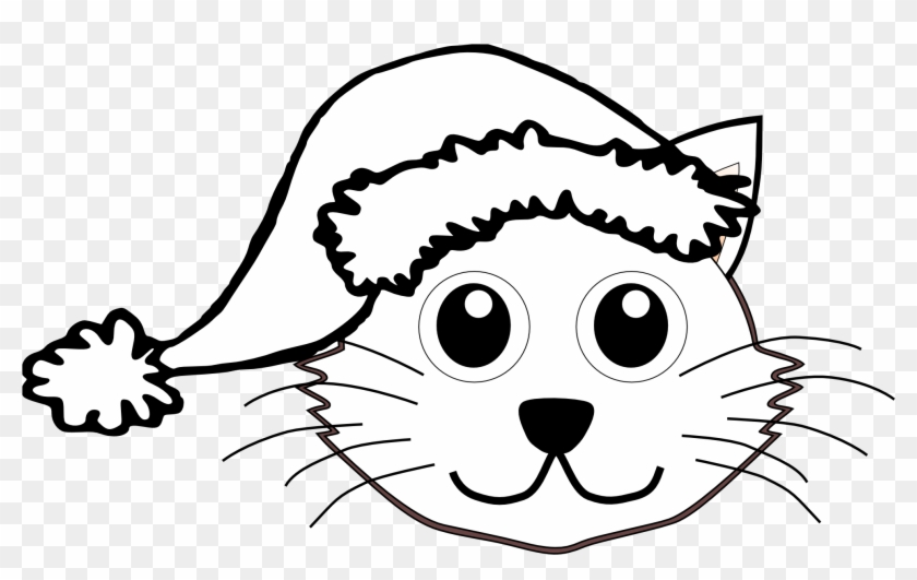 Cat In The Hat Black And White Clipart Kid - Cat Face For Coloring #12760