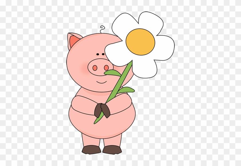 Pig Clip Art - Свинья С Цветами #12814