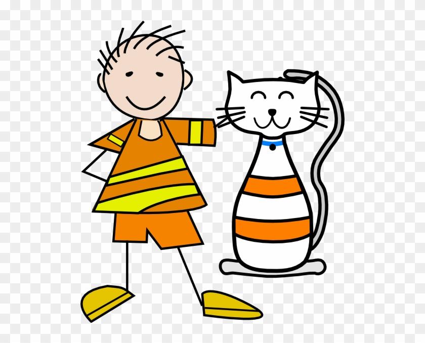 Cat And Boy Cartoon #12880
