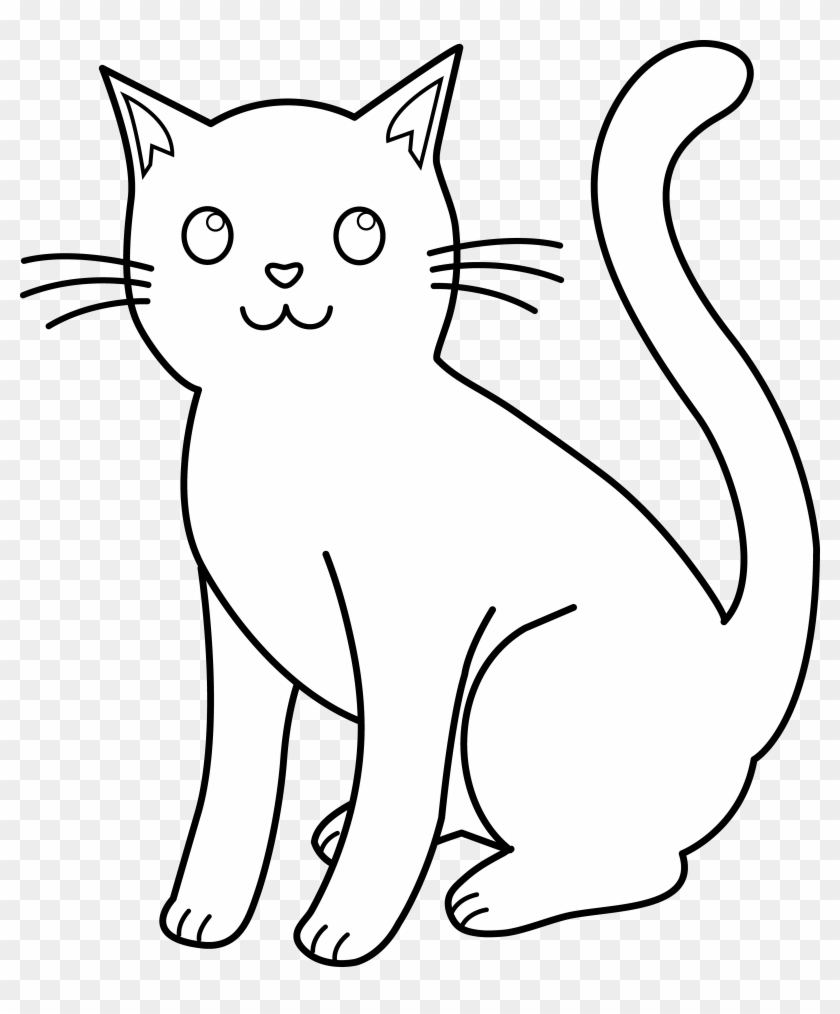 Clip Art - Cat Black And White Drawing #12906