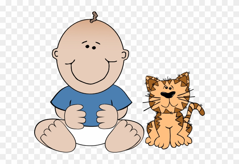 Clip Art Boy And Cat #12933