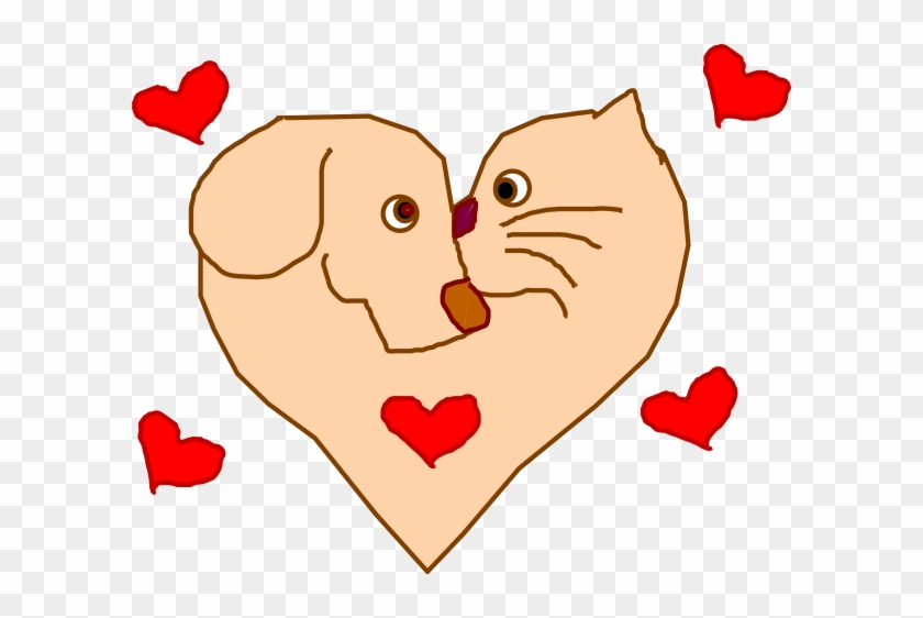 Dog And Cat Heart Clip Art - Heart Dog Clipart Png #12946