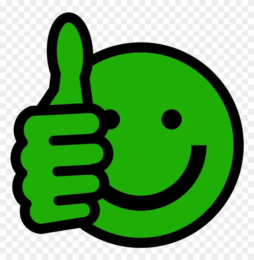 Green Smiley Face Clip Art - Thumbs Up Emoji Green #12966