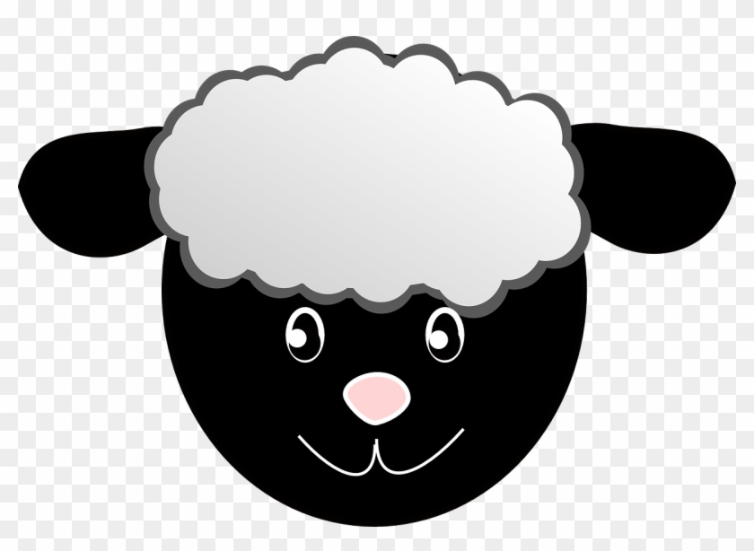 Sheep Head Happy Face Cartoon Wool Black - Black Sheep Face Cartoon #12997