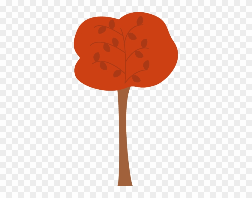 Pretty Maroon Autumn Tree - Clip Art #13010