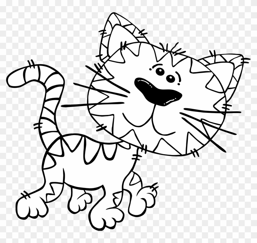 Cartoon Cat Walking Outline Clip Art Free Vector 4vector - Black And White Cute Cartoon Cats #13037