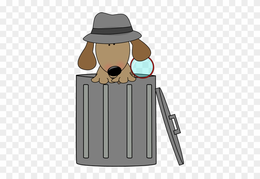 Dog Looking For Clues In A Trash Can - Cute Trash Can Clipart #13119