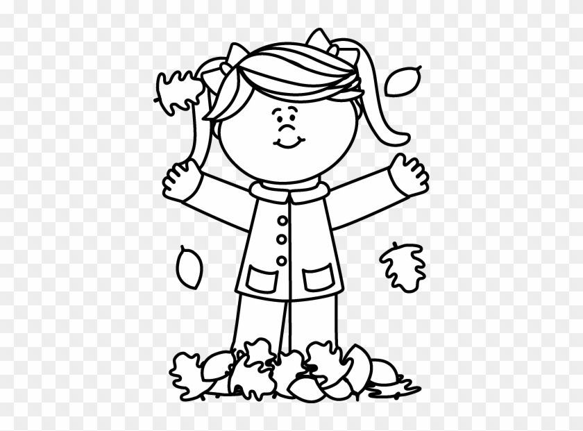 Black And White Girl Playing In Leaves Clip Art - Clipart Black And White Girl #13157