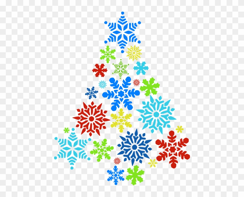 Colorful Snowflake Tree Clip Art At Clker Com Vector - Christmas Clip Art Snowflakes #13178