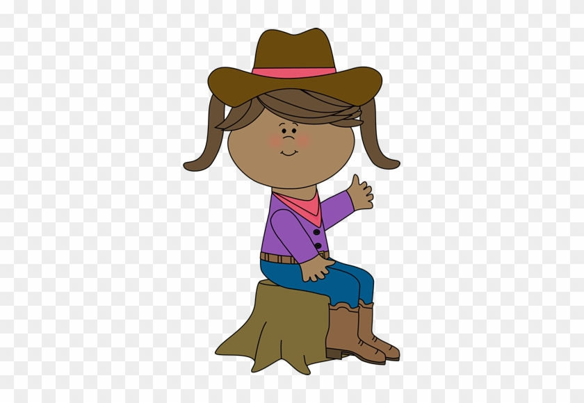 Cowgirl Sitting On A Tree Stump - Western Clip Art For Kids #13207