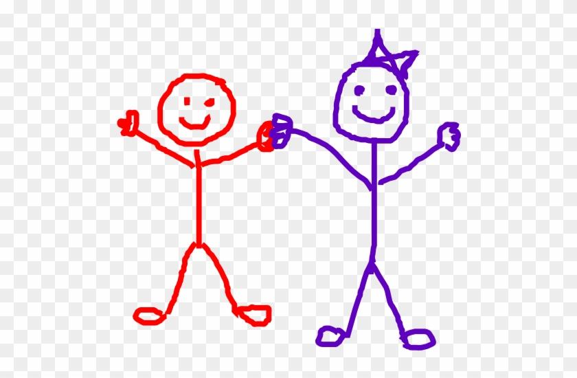 Stick Figure Kids Friends Clip Art At Vector Clip Art - Stick Figure Friends #13214