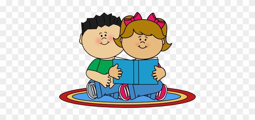 Kids Reading On A Rug Clip Art - Clip Art #13222