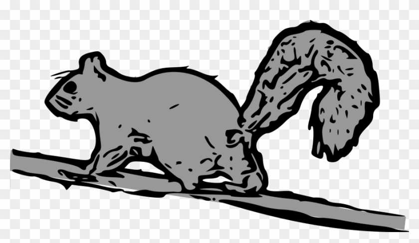 Squirrel Black And White Funny Squirrel Clipart Free - Cartoon Squirrel Running Up Tree #13334