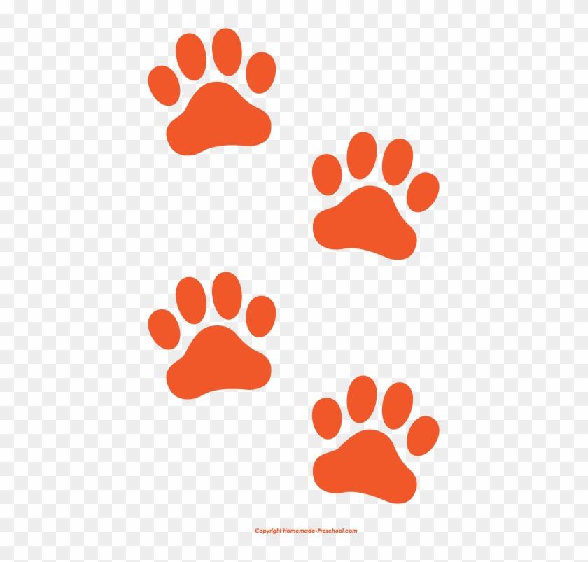 Dog Paw Prints Free Paw Prints Clipart - Orange Dog Paw Print #13344
