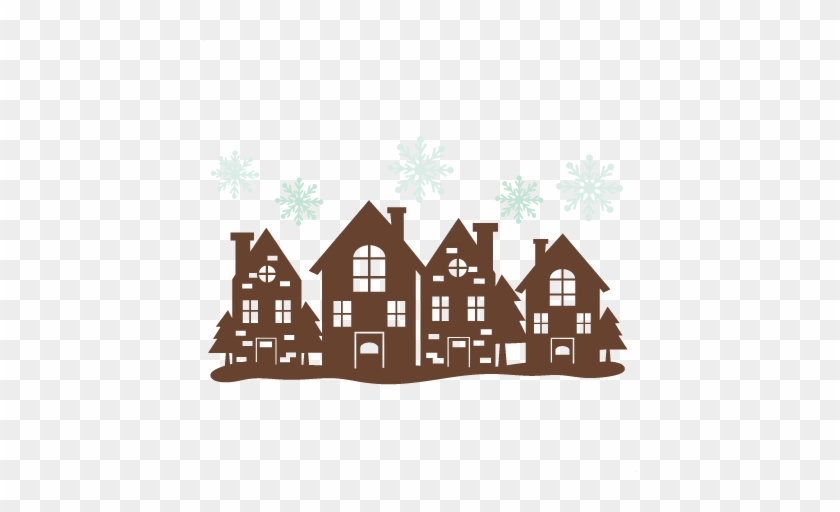 Christmas House Border Svg Cutting Files Free Svg Cuts - Christmas House Silhouette #13397