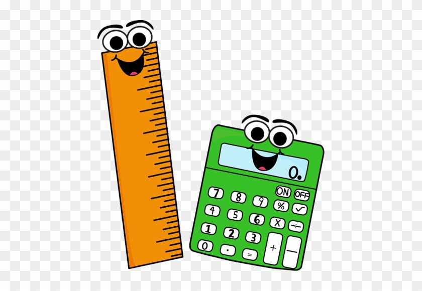 Ruler And Calculator - School Supplies With Faces #13443