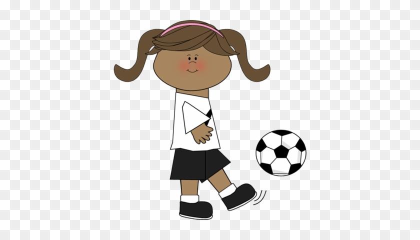 Girl Kicking Soccer Ball - Kicking Ball Clip Art #13556