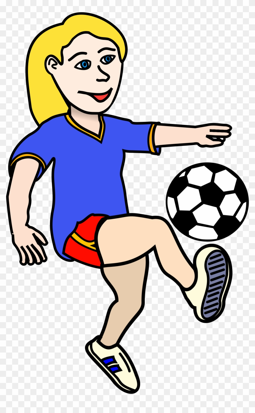 Fancy Design Clipart Soccer Player Playing Girl Coloured - Soccer Ball Clip Art #13563