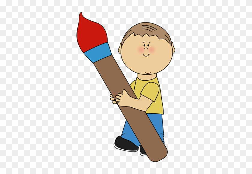 Boy Holding A Giant Paint Brush - Boy With Paintbrush Clipart #13581