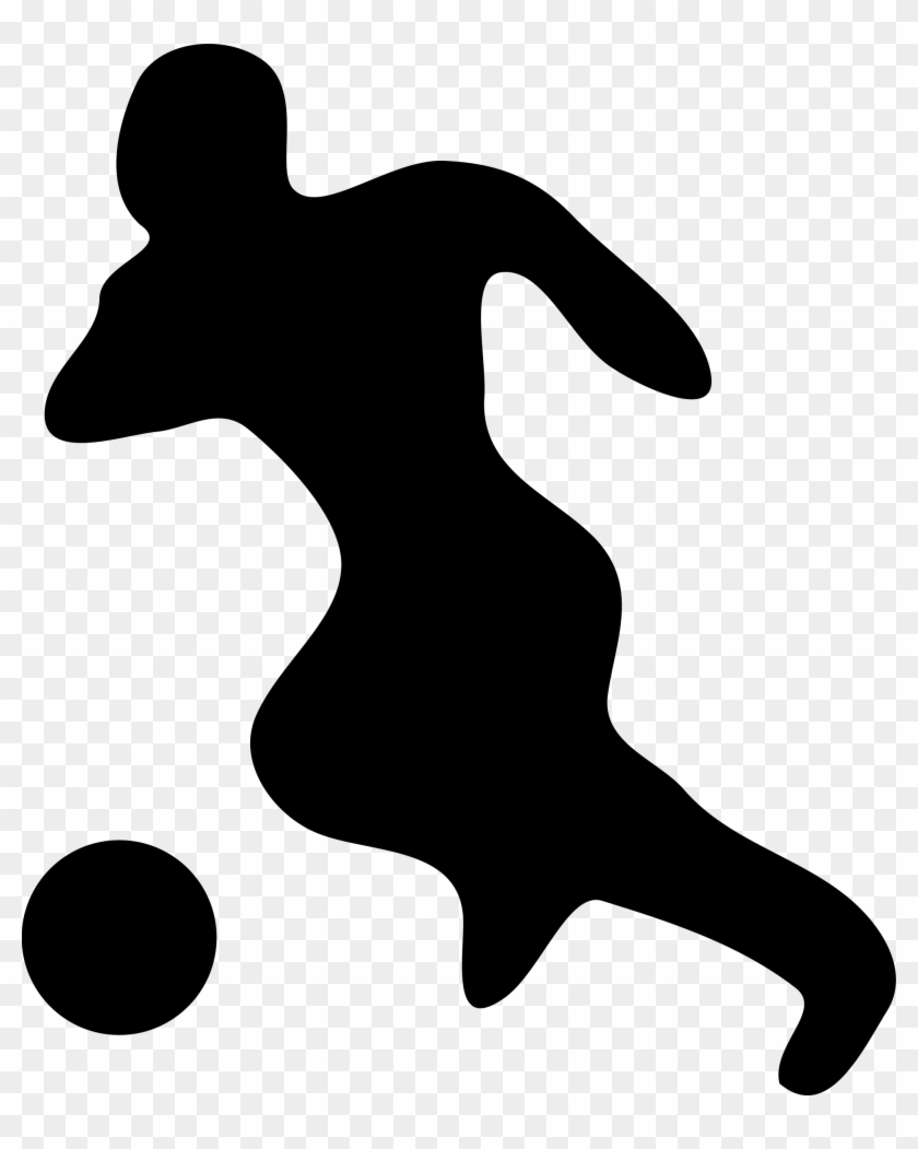 Kicking Soccer Ball Silhouette - Soccer Player Silhouette #13663