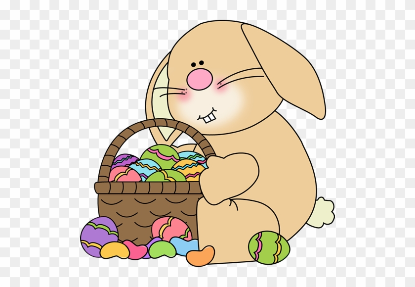 Bunny Sitting With An Easter Basket Clip Art - Easter Pictures Clip Art #13676