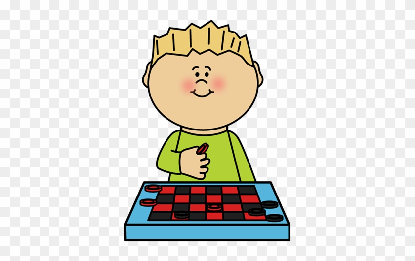 Boy Playing Checkers Clip Art - Boy Playing Board Game Clipart #13696