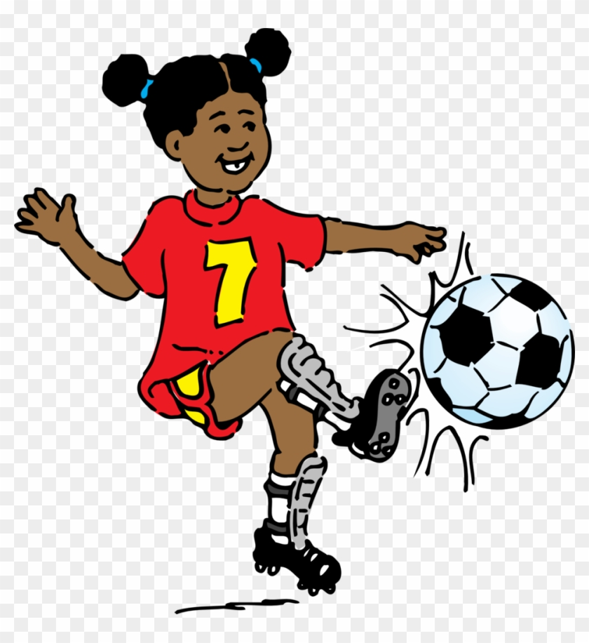 Girl Playing Soccer Clip Art - Playing Soccer Clipart #13859