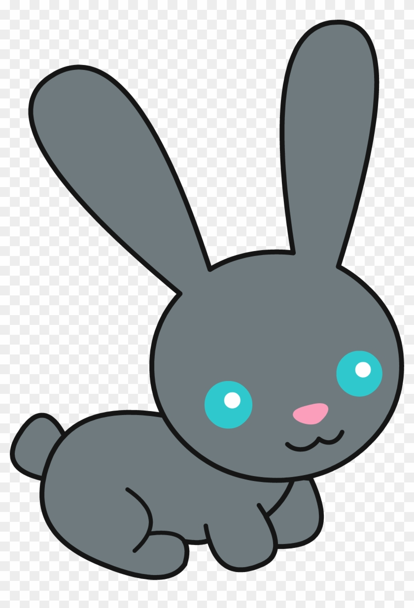 Cute Black Bunny Rabbit Free Clip Art Png - Cute Bunny Clipart #13888
