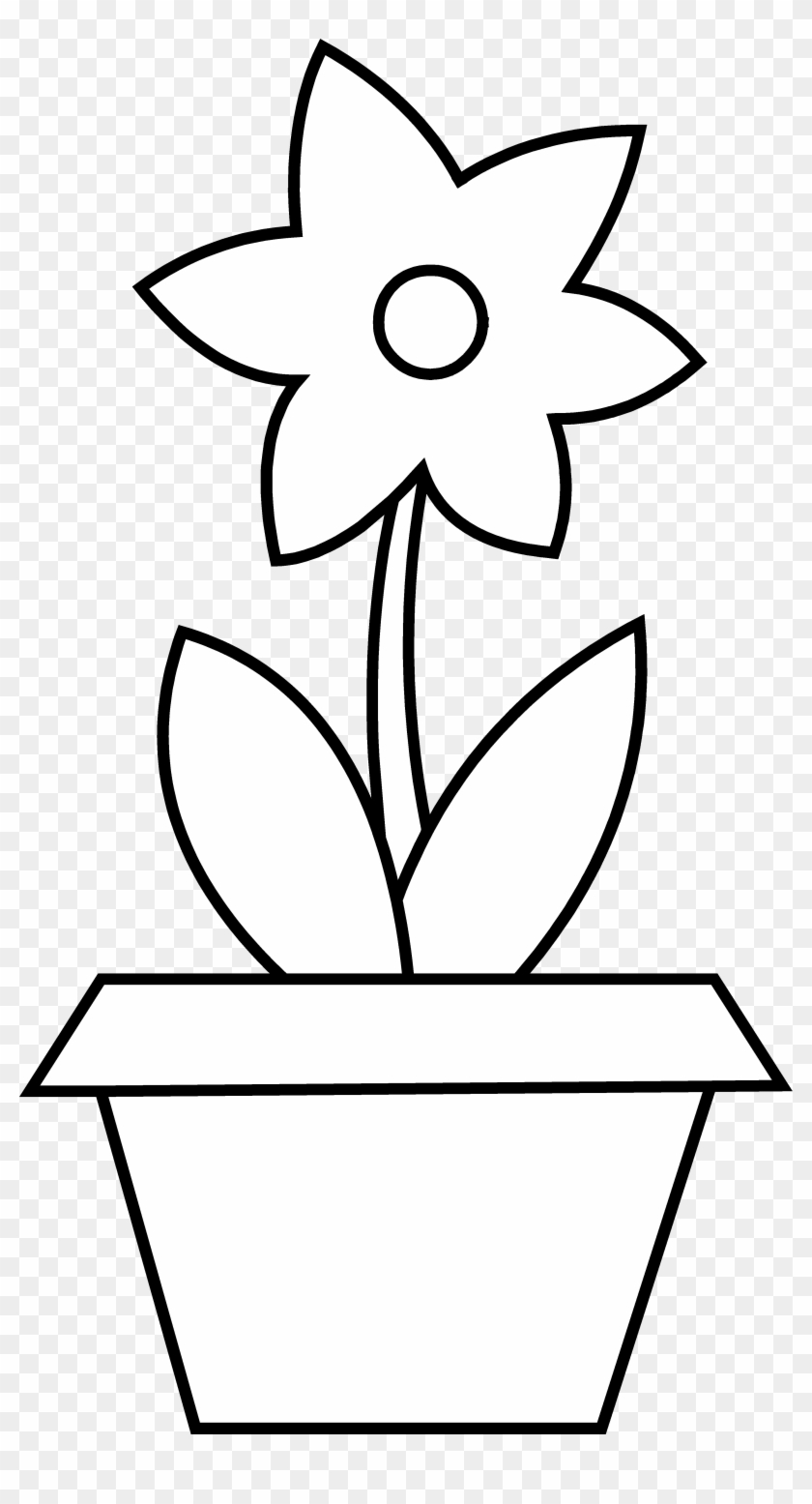 Plant Clipart Colouring - Colouring Pages Of Flower Pot - Free ...