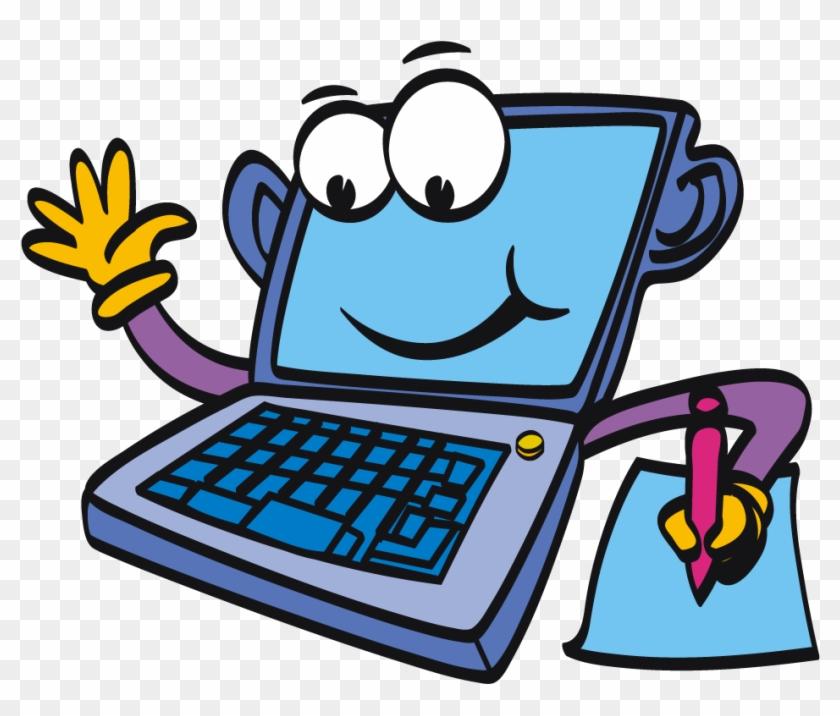 Computer Cartoon Laptopputer Clipart - Computer Clipart #13964