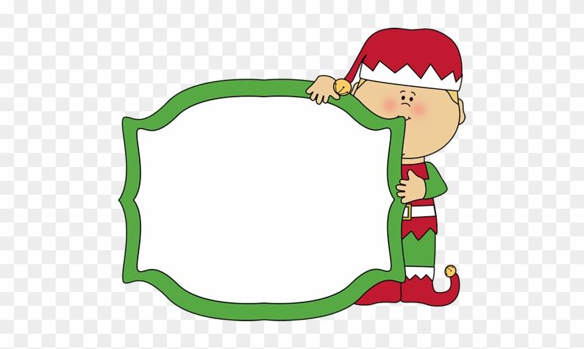 Christmas Elf Holding A Blank Sign - Christmas Elf Page Border #14001