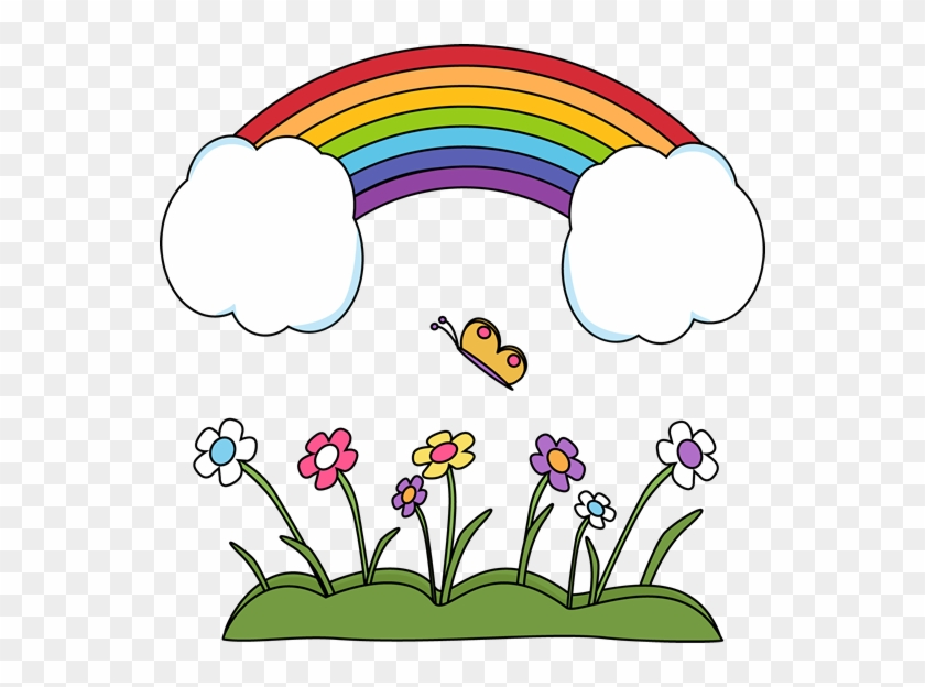 Happy Rainbow Scene - Rainbow In The Sky Clipart #14120
