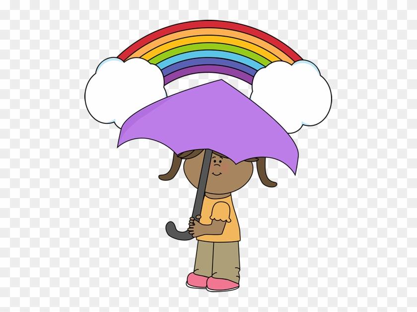 Rainbow And Girl - Rainbow Umbrella Clip Art #14136