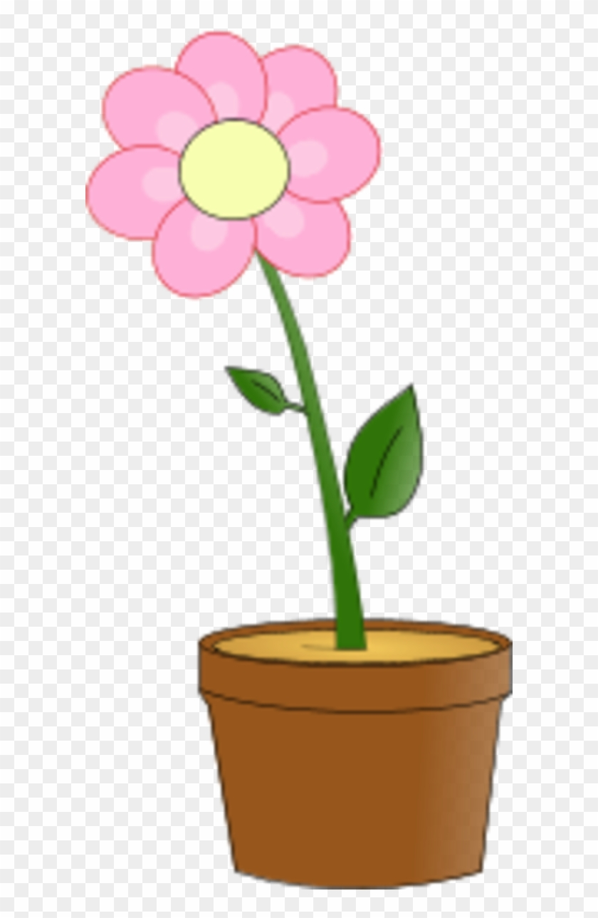Flower With Leaves In A Planting Pot - Flower In A Pot Clipart #14159