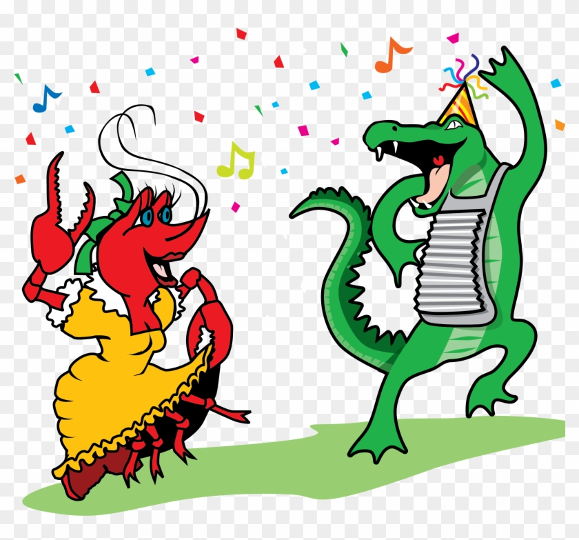 Crawfish And Alligator Dancing Vector Clip Art - New Orleans Clip Art #14281