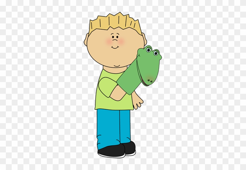 Boy With Puppet - Turn Off The Lights Clipart #14344
