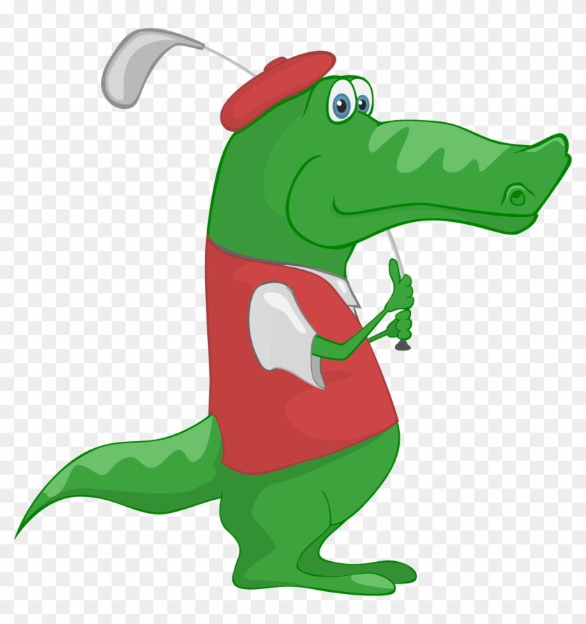 Crocodile Alligator Golf Cartoon Clip Art - Crocodile Alligator Golf Cartoon Clip Art #14467