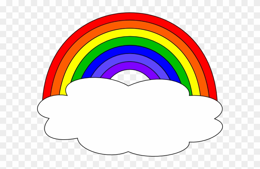 Rainbow With Clouds Clip Art - Rainbow With Clouds Clipart #14428
