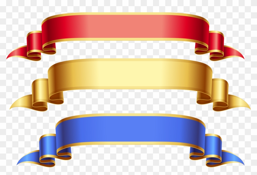 Gold Ribbon Cliparts - Gold Ribbon Banner Hd #14455