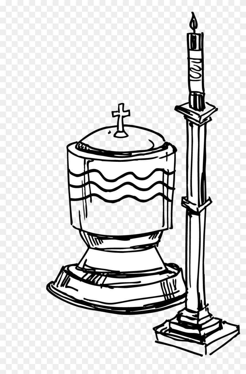 Baptism Cross Clip Art - Baptism Candle Coloring Page #14459