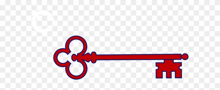 Red Skeleton Key Clip Art At Clker - Skeleton Key Clipart Outline Png #14485