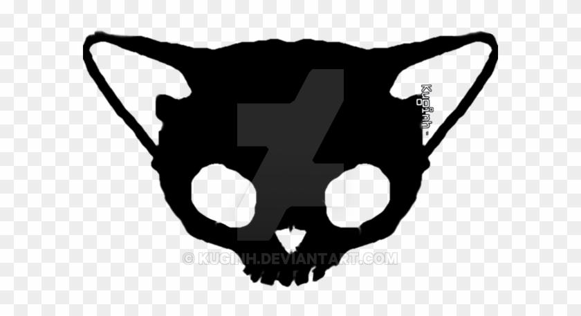 Black Cat Skull By Kuginh - Skull Cat Png #14487