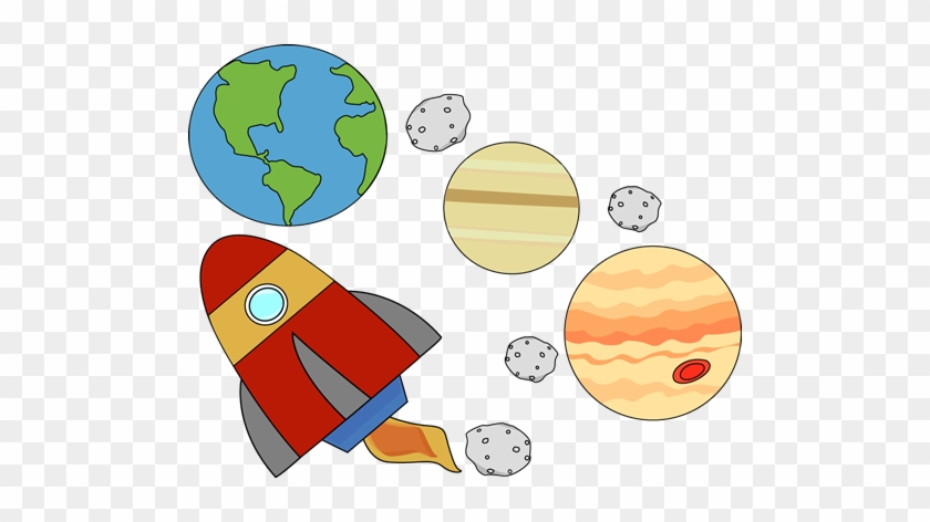 Rocket Flying Through Outerspace - Space Clipart #14532
