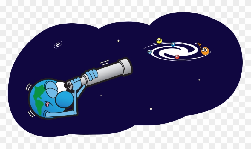 A Cartoon Of Planet Earth Looking At A Galaxy Through - Solar System Cartoon Png #14721
