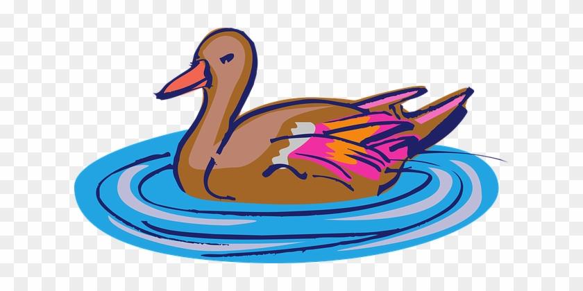 Duck On Water Art #14872