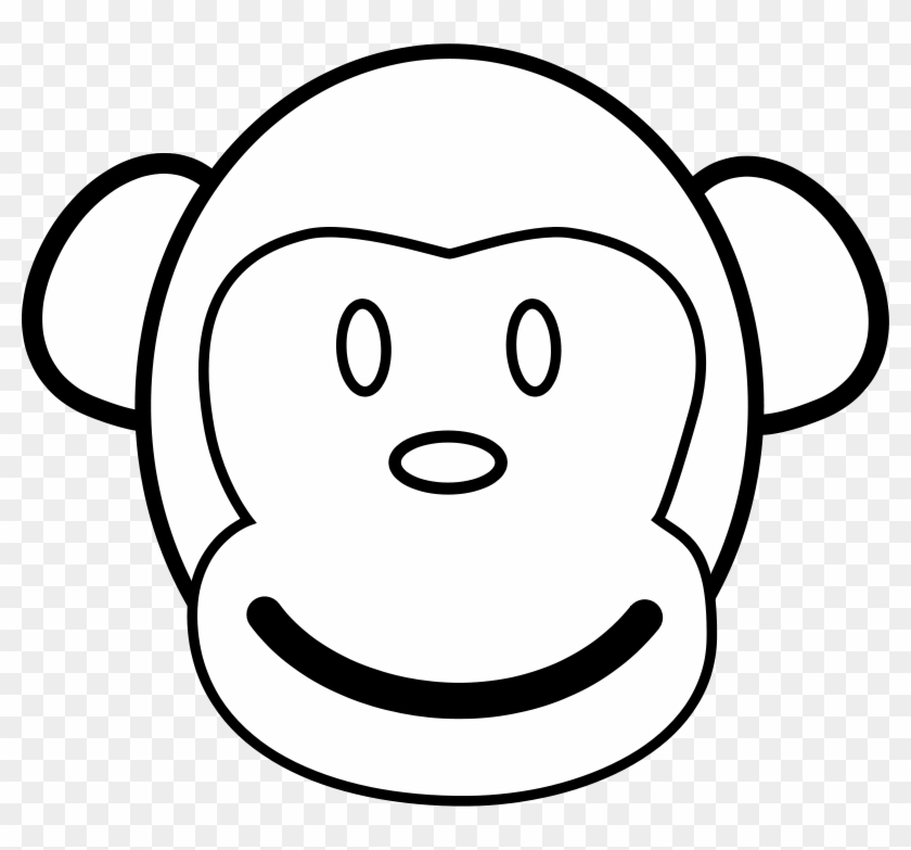 Monkey Line Art Free Vector 4vector - Monkey Face Paper Plate #14897
