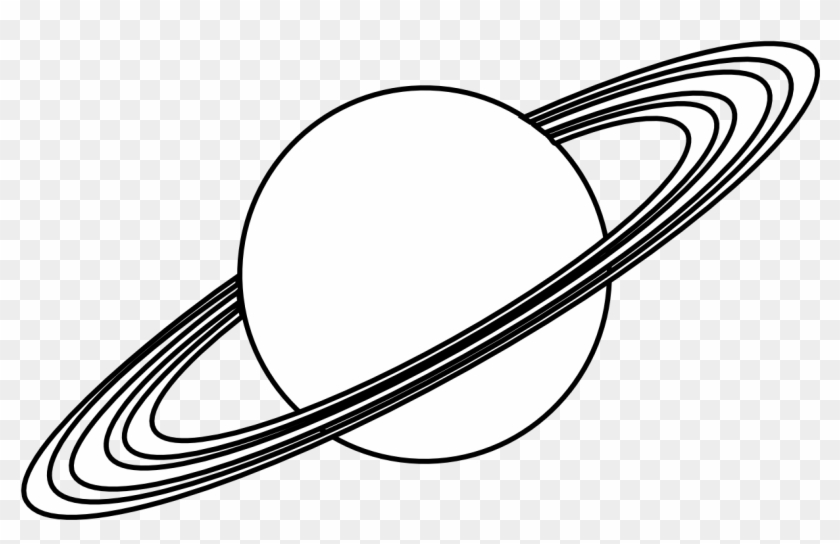 Planet Clipart Colouring Page - Black And White Planet #14914
